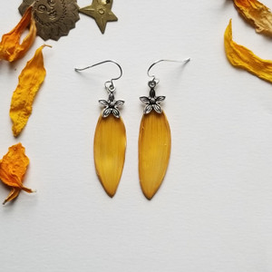 Sunflower Petal Earrings- Small Yellow with Flower Charm and Sterling Silver