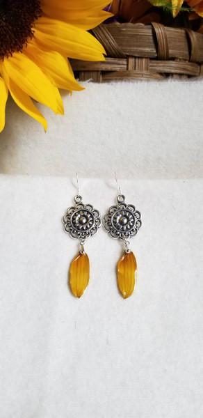 Black-Eyed Susan Earrings- Silver Mandala