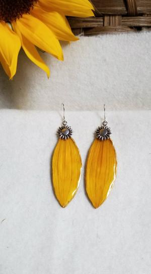 Sunflower Petal Earrings- Silver w/ Sunflower Charm