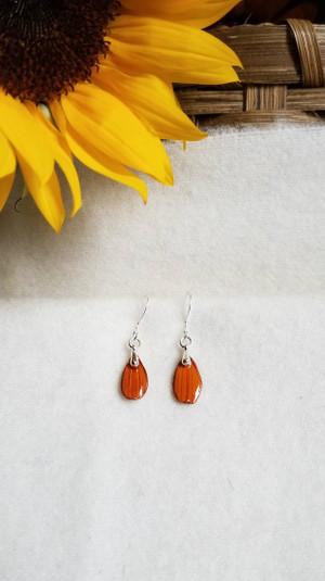Orange Cosmos Earrings- Silver