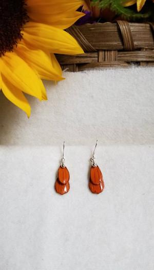 Orange Cosmos Earrings -Double Petal Silver