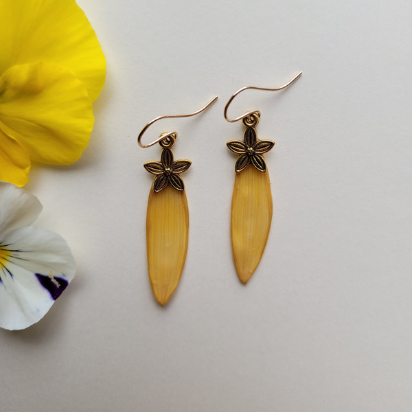 Sunflower Petal Earrings- Small Yellow with Flower Charm and 14K GF
