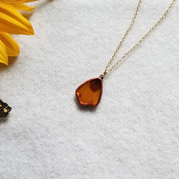 Coreopsis Flower Petal Pendant Necklace- 14K GF