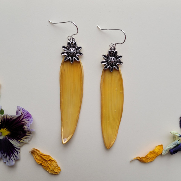 Sunflower Petal Earrings- Slender Yellow with Large Flower Charm and Sterling Silver