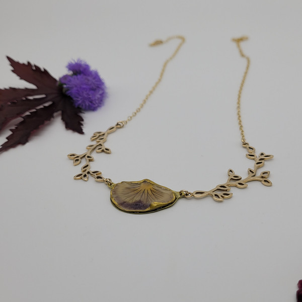 Pansy Petal Necklace- Purple with Branches and 14k GF