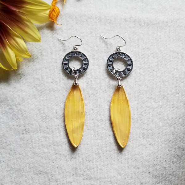 Sunflower Petal Earrings- Circular Moon Phase Sterling Silver- Midnight Sunflowers Collection