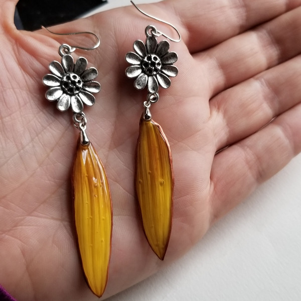 Sunflower Petal Earrings- Sterling Silver with Flower