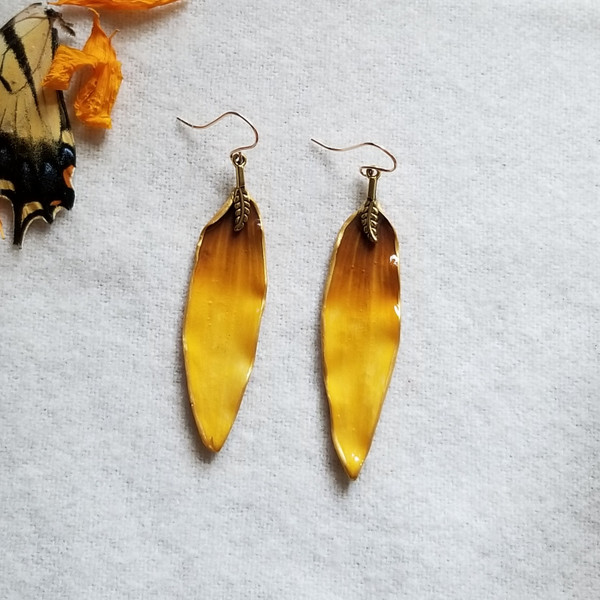 Black-Eyed Susan Earrings-  14K GF with Feather Charm