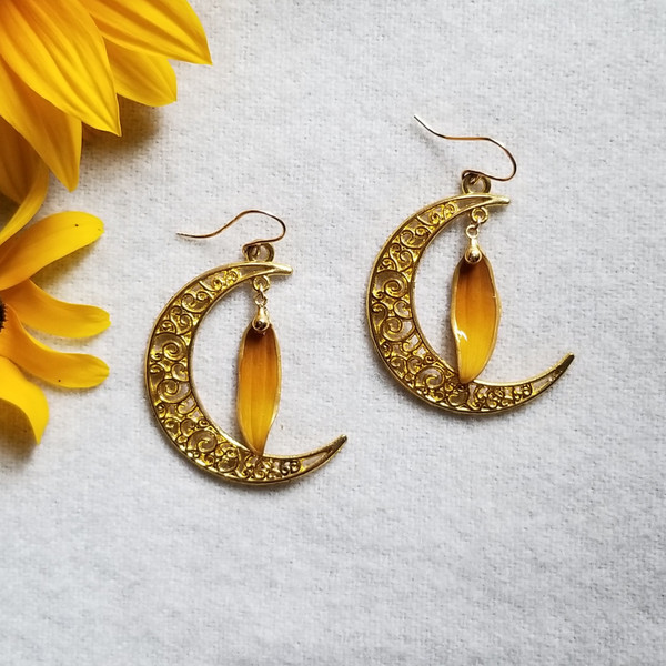 Black-Eyed Susan Earrings- Large Crescent Moons with 14K GF