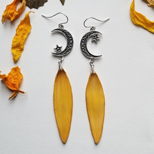 Sunflower Petal Earrings- Moon and Star with Sterling Silver- Midnight Sunflowers Collection