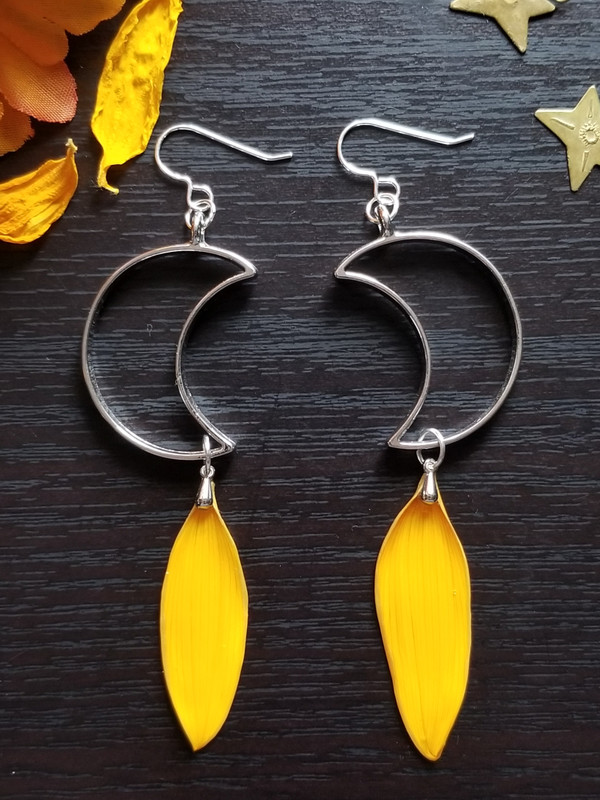 Sunflower Petal Earrings- Crescent Moon with Sterling Silver