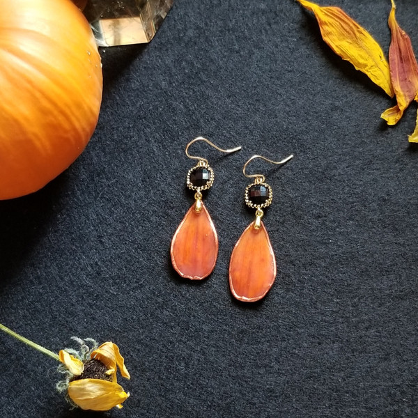Orange Cosmos Fall Earrings- 14K GF with Black Rhinestones