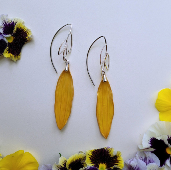 Sunflower Petal Earrings- Long Leaf Sterling Silver