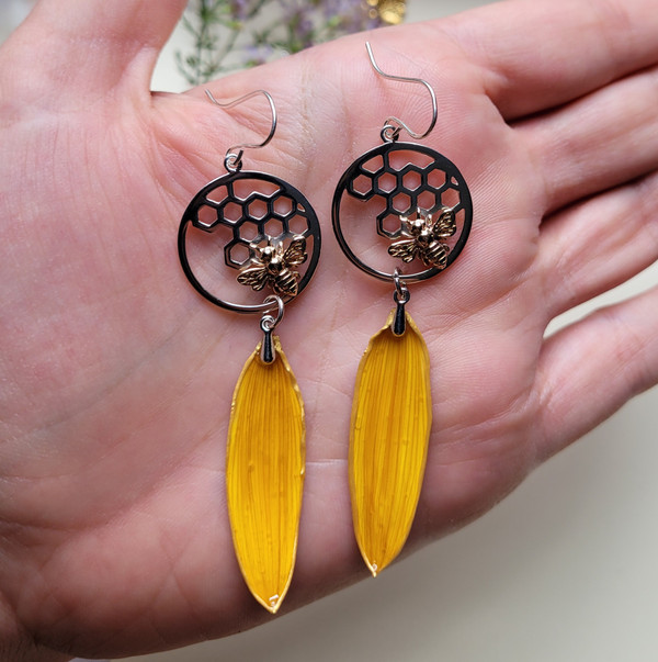Sunflower Petal Earrings- Honeycomb Circle with Bee Sterling Silver- Bee-Loved Collection