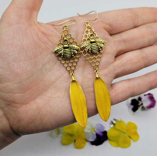 Sunflower Petal Earrings- Yellow with Honeycomb and Large Bee 14k GF- Bee-Loved Collection