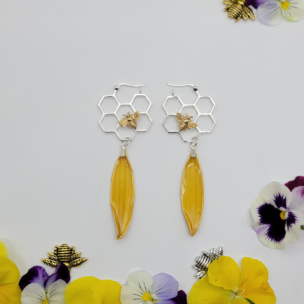 Sunflower Petal Earrings- Yellow with Honeycomb Hoops and Bee Sterling Silver- Bee-Loved Collection