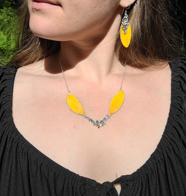 Sunflower Double Petal Necklace- Yellow with Flower and Bee Charm and Sterling Silver- Bee-Loved Collection