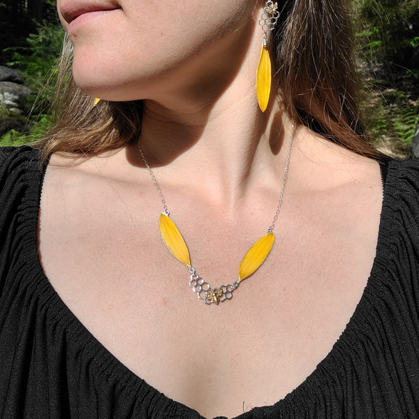 Sunflower Double Petal Necklace- Yellow with Honeycomb and Bee Charm and Sterling Silver- Bee-Loved Collection
