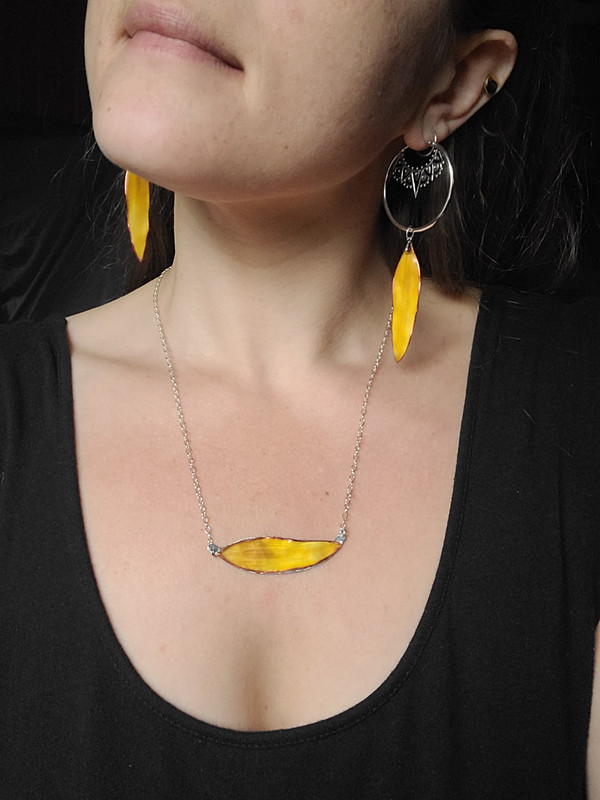 Sunflower Petal Sunbar Necklace- Red/Yellow with Sterling Silver