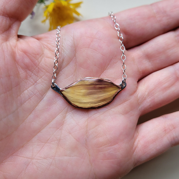 Sunflower Petal Choker Necklace- Light Purple/Yellow with Sterling Silver