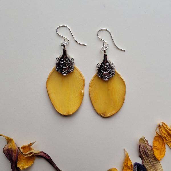 Daffodil Petal Earrings- Flowerdrop Charm with Sterling Silver