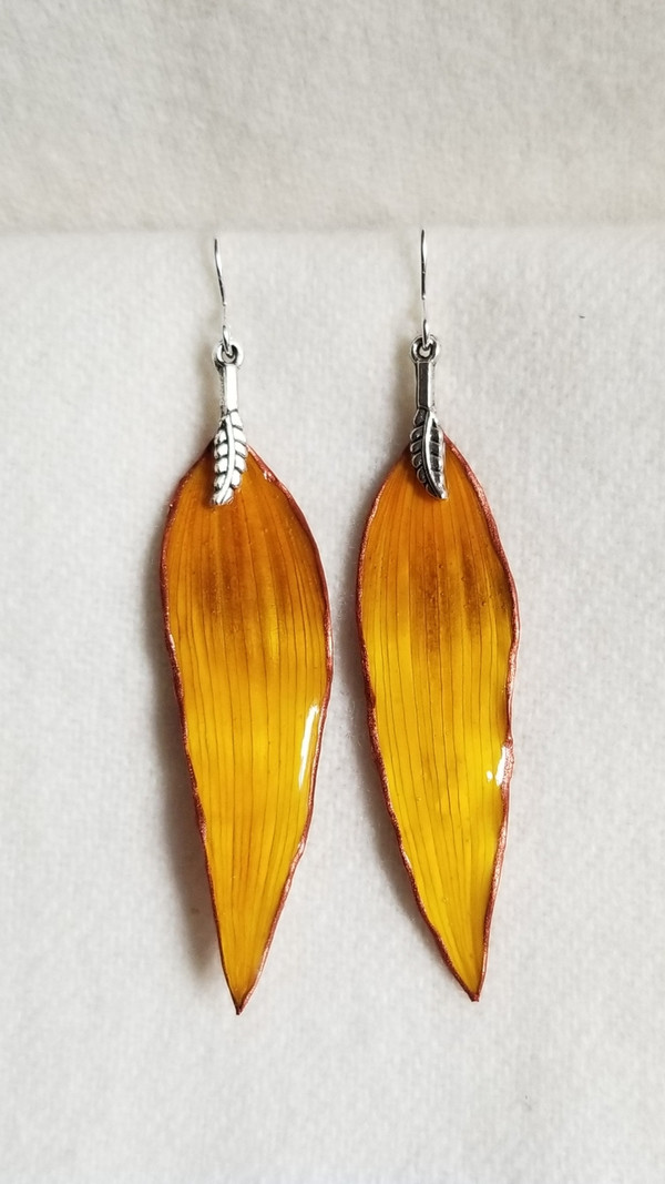 Sunflower Petal Earrings- Yellow and Red with Silver and Feather Charm