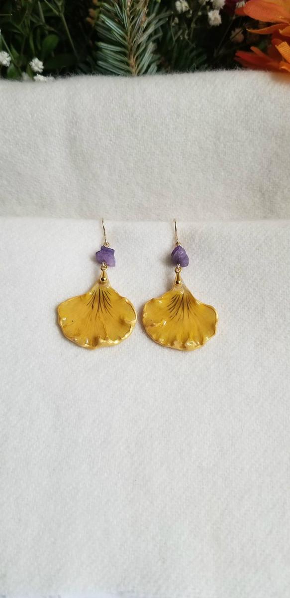 Pansy Petal Earrings- Yellow/Blue Single Petal with Purple Jade Stones and 14K GF