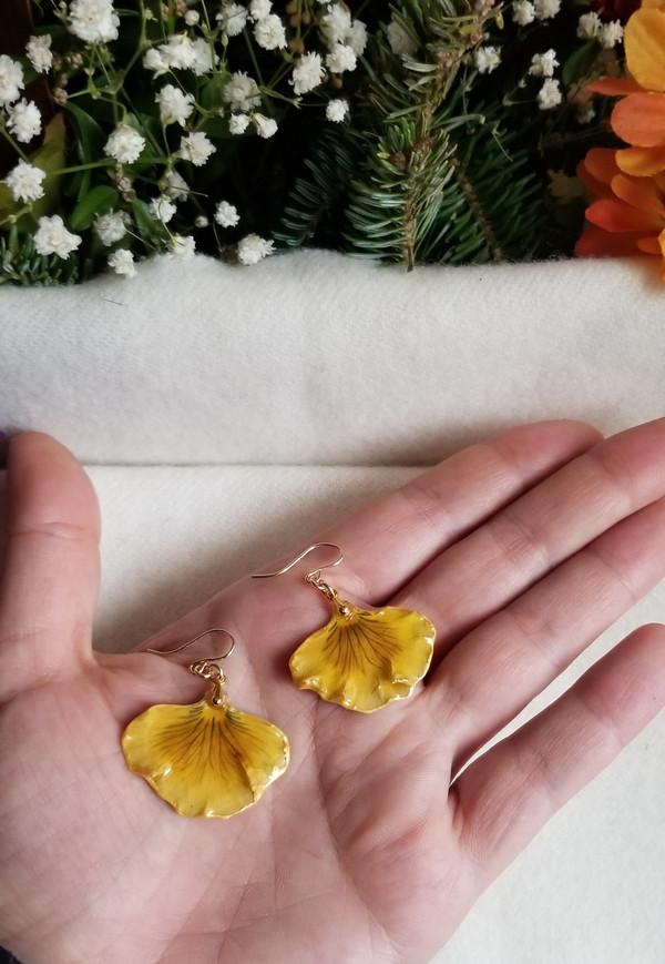 Pansy Petal Earrings- Yellow/Blue Single Petal with 14K GF