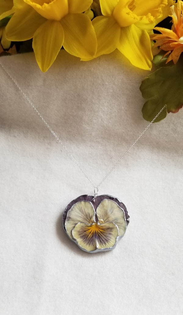 Pansy Petal Pendant Necklace- Full Flower Purple/White with Sterling Silver