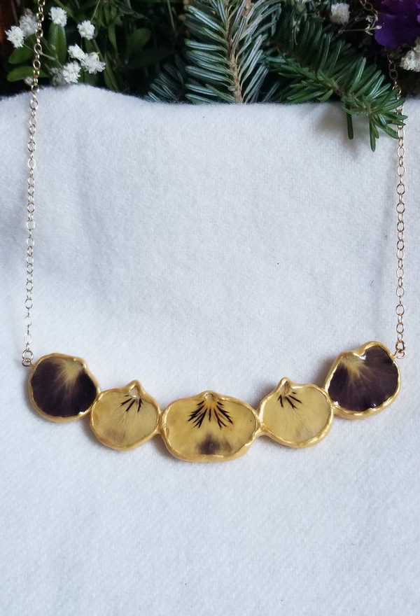 Pansy Petal Necklace- Full Flower Yellow/Dark Purple with 14K GF