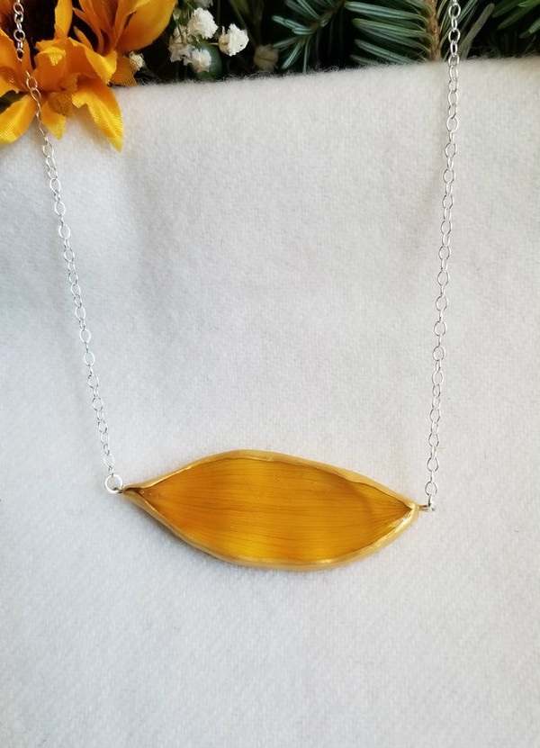 Sunflower Petal 'SunBar' Necklace- Yellow with Sterling Silver