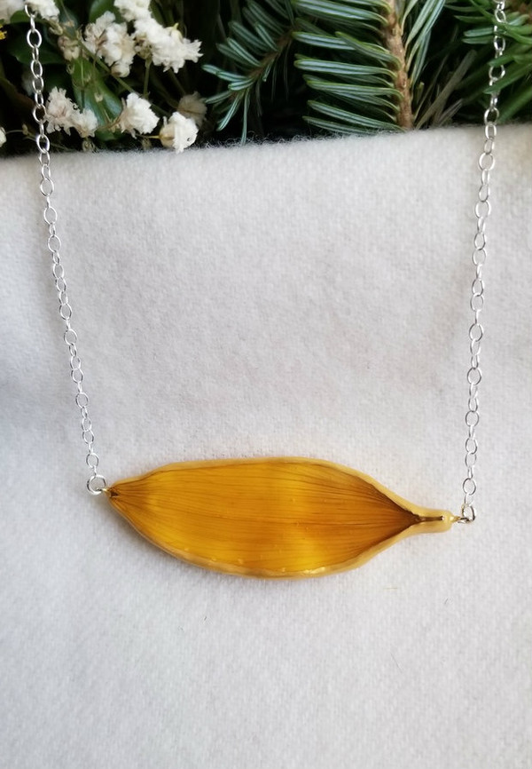Sunflower Petal 'SunBar' Necklace- Yellow with Sterling Silver (#2)