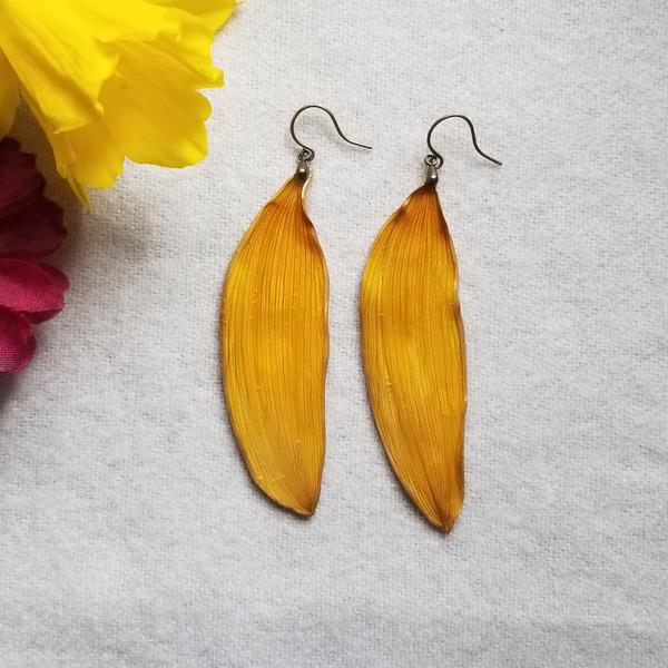 Sunflower Petal Earrings- Large with Brass