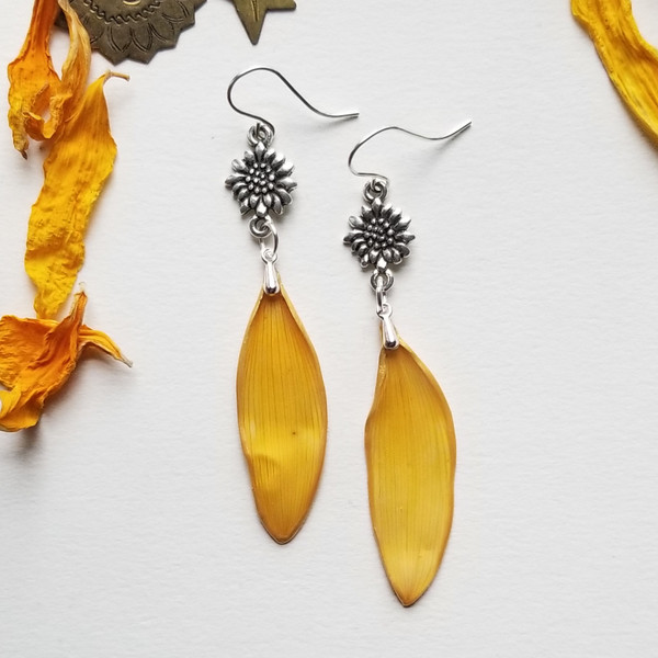 Sunflower Petal Earrings- Yellow with Sunflower and Sterling Silver