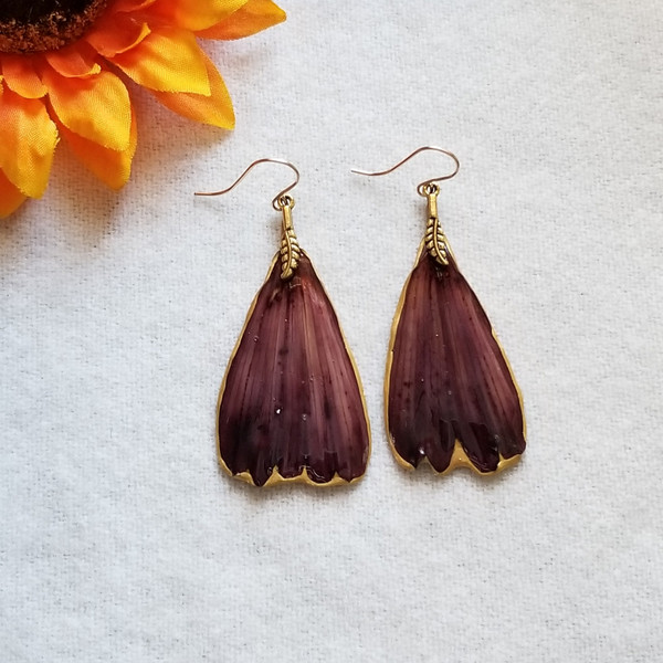 Cranberry Cosmos Earrings- 14K GF with Feather Charm