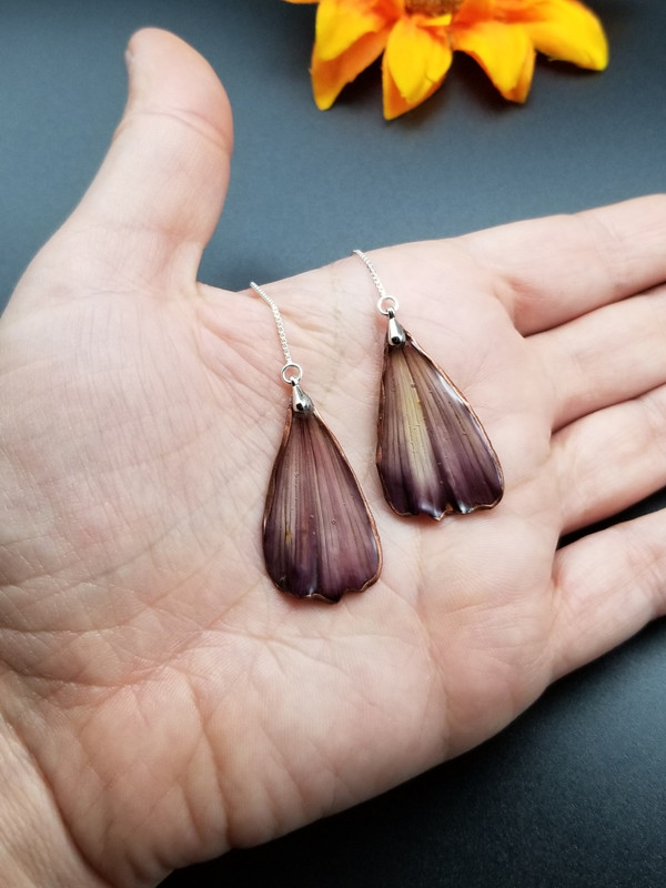 Cranberry Cosmos Ear Threads- Sterling Silver