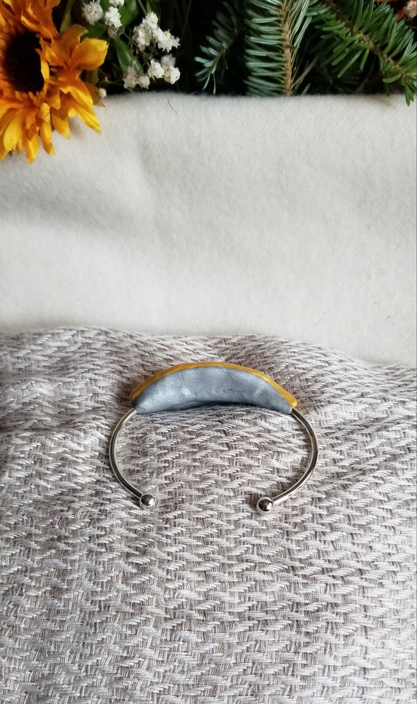 Sunflower Petal Bracelet- Sterling Silver Large Yellow