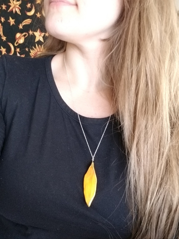 Sunflower Petal Pendant Necklace- Large Orange with Sterling Silver