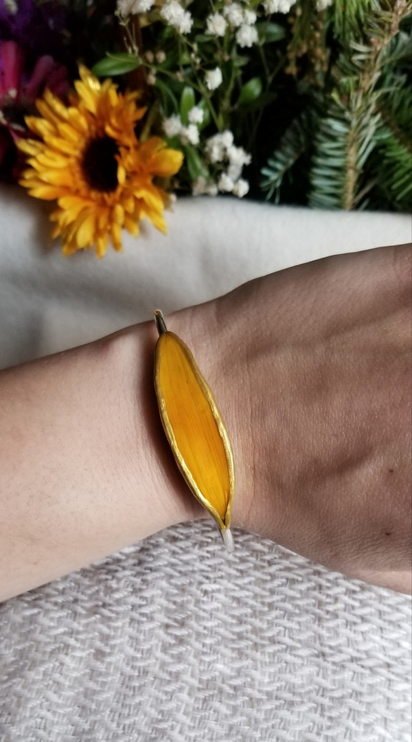 Sunflower Petal Bracelet- Sterling Silver Orange Large