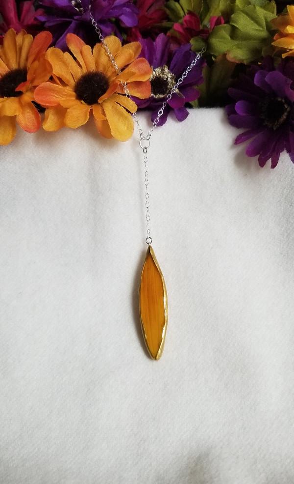 Sunflower Petal 'SunDrop' Necklace- Sterling Silver Orange