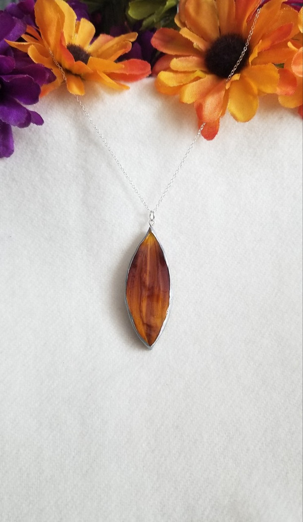 Sunflower Petal Pendant Necklace- Rusty Orange with Sterling Silver 24 Inch Chain