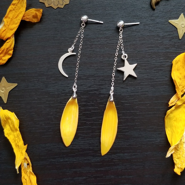 Sunflower Petal Earrings- Sun and Moon Sterling Silver Dangle Studs- Midnight Sunflowers Collection
