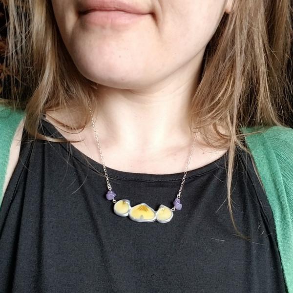 Viola Petal Necklace- Tri-petal Bib Necklace with Sterling Silver and Purple Jade Stones (SALE)