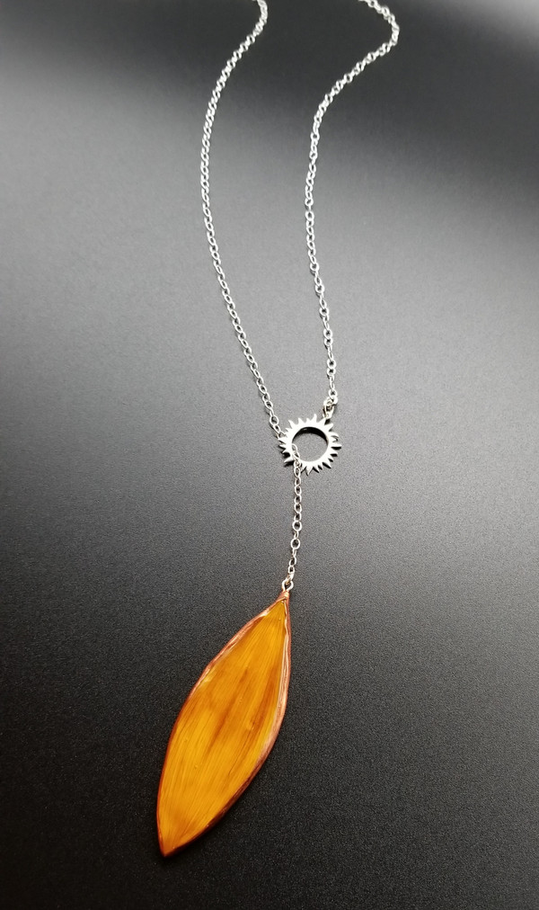 Sunflower Petal Adjustable Lariat Necklace- Orange/Red with Sterling Silver and Sun Charm