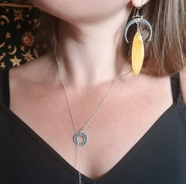 Sunflower Petal Earrings- Large Decorative Crescent Moons Sterling Silver- Midnight Sunflowers Collection