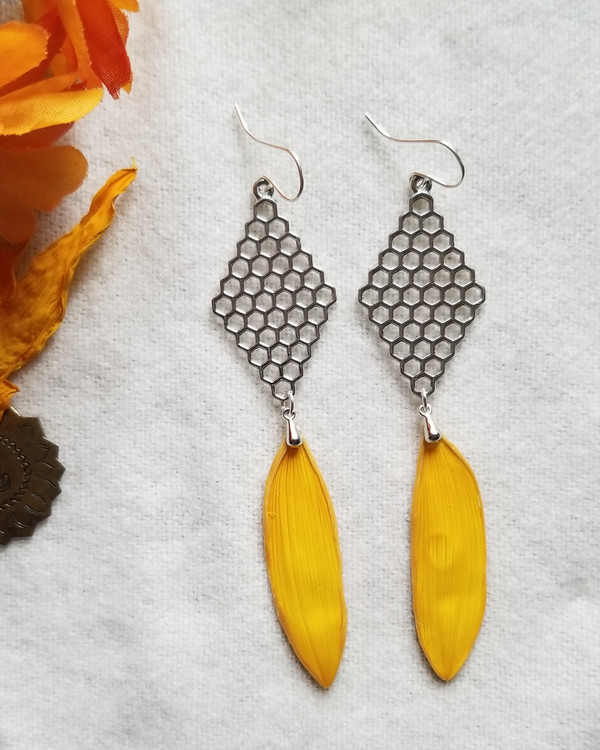 Sunflower Petal Earrings- Sterling Silver with Honeycombs