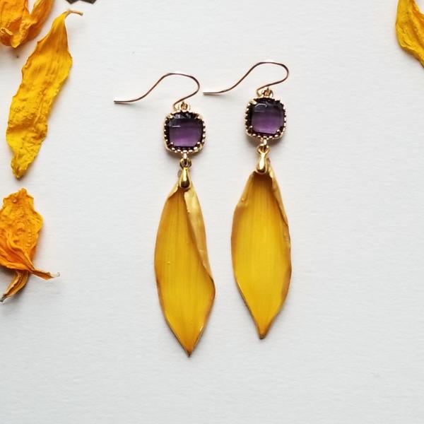Sunflower Petal Earrings- 14k GF with Purple Rhinestones