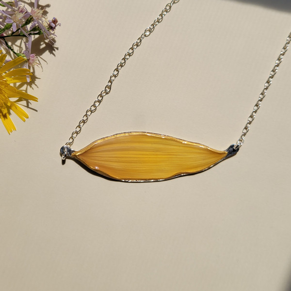 Sunflower Petal Sunbar Necklace- Yellow with Sterling Silver