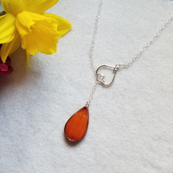Orange Cosmos Flower Petal Necklace- Adjustable Lariat with Petal Charm and Sterling Silver