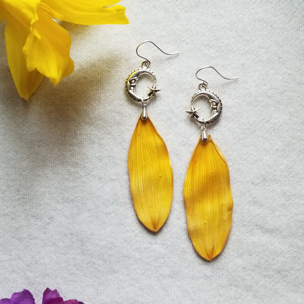 Sunflower Petal Earrings- Moon and Star with Sterling Silver